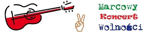 Gitara pomalowana na biało-czerwono, jak flaga Polski oraz dłoń pokazująca symbol zwycięstwa