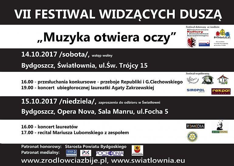 Plakat festiwalowy w konwencji pasów biało-czarnych