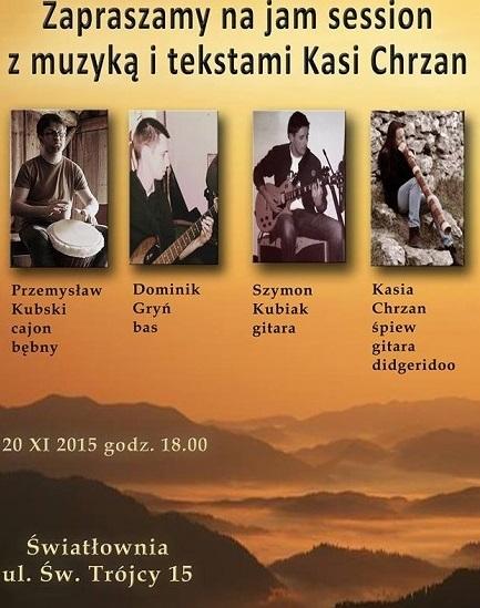 Zapraszamy na Jam session z muzyką i tekstami Kasi Chrzan ..Światłownia, 20 listopada g. 18:00