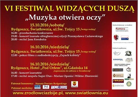 """Plakat VI Festiwalu widzących duszą """"Muzyka otwiera oczy"""""""
