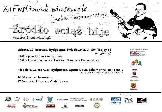 Plakat XII Festiwalu Piosenek Jacka Kaczmarskiego.