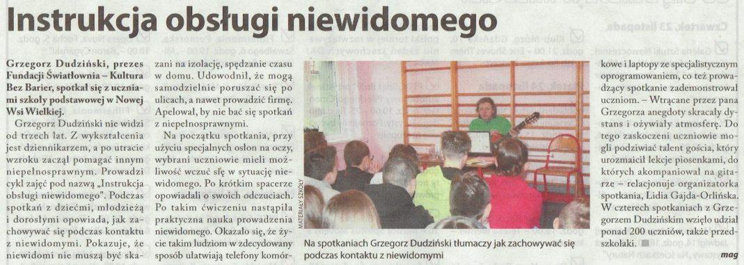 Artykuł o Instrukcji Obsługi niewidomegow Tygodniku Bydgoskim