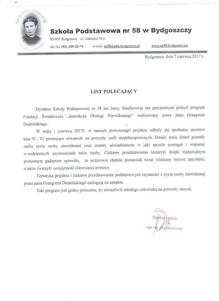 List polecjący ze Szkoły Podstawowej nr 58 w Bydgoszczy