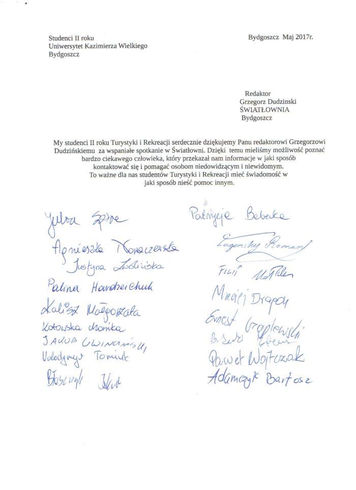 List polecający od studentów Turystyki Rekreacji i Turystyki Uniwersytetu Kazimierza Wielkiego