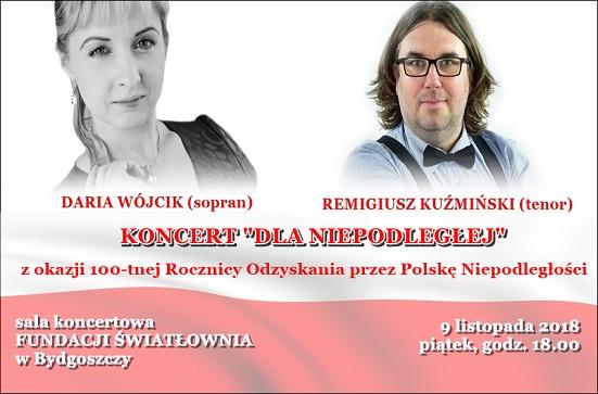 Plakat koncertu Dola Niepodległej Daria Wójcik - sopran, REmigiusz Kużmiński-tenor