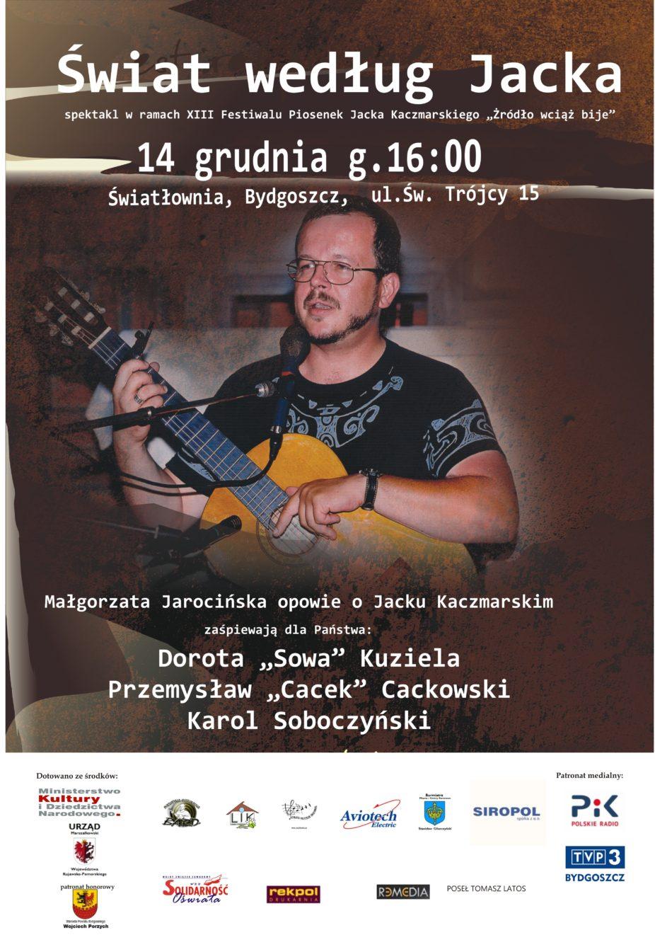 Plakat koncertu w ramach XIII Festiwalu Piosenek Jacka Kaczmarskiego Świat według Jacka, 14 grudnia, g.16