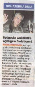 Bohaterka dnia Steffi Mal wystąpi w Światłowni. artykuł w Expressie Bydgoskim