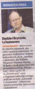 Artykuł z Expresu Bydgoskiego pt. Będzie i lirycznie, i z humorwm zapowiadający koncert Tomasza Sawickiego i Dagmary Gałeczki