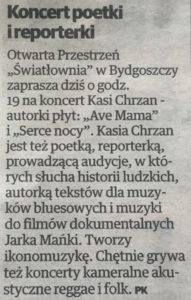 Artykuł o występie poetki i reporterki Kasi Chrzan w bydgoskiej Światłowni