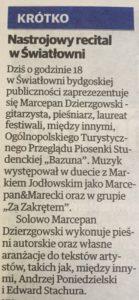 Artykuł o występie Marcepana Dzierzgowskiego w Światłowni