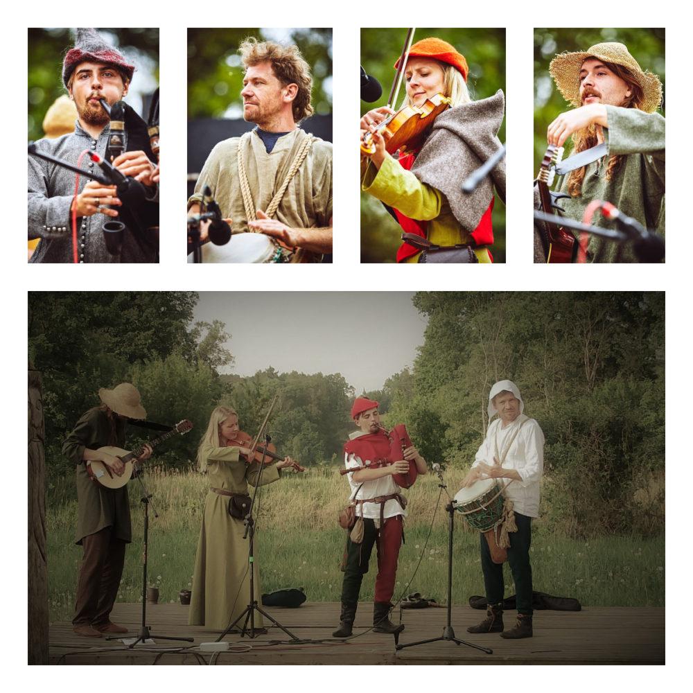 czterech muzyków w dawnych strojach