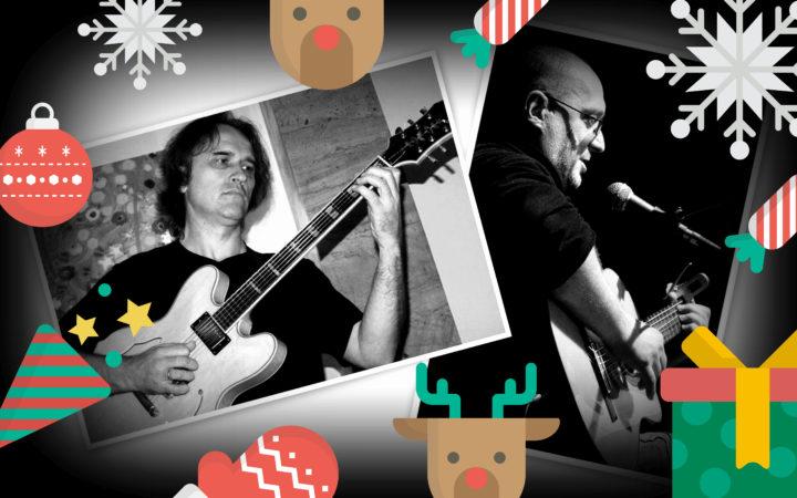 Dwóch mężczyzn w średnim wieku, jeden gra na giotarze, drugi gra na gitarze i śpiewa