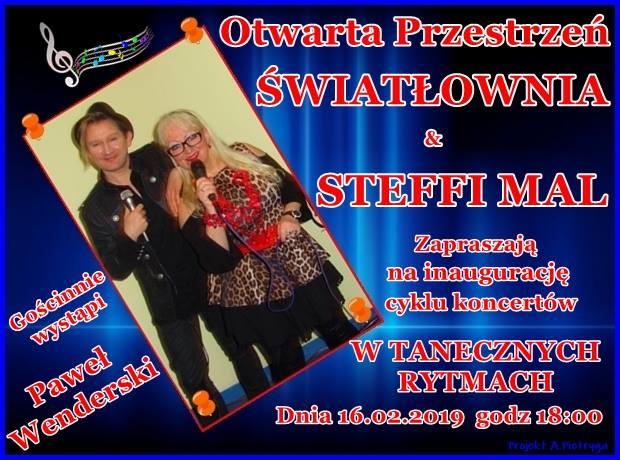 Plakat koncertu w tanecznych rytmach