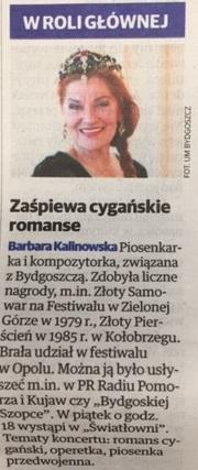 16 stycznia 2019 notka z Expresu Bydgoskiego o koncercie barbary Kalinowskiej