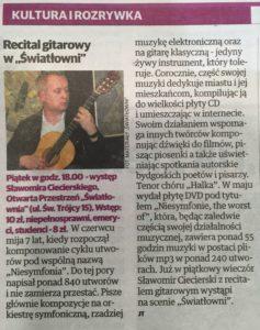 Artykuł w Expressie Bydgoskim o recitalu gitarowym Sławomira Ciecierskiego