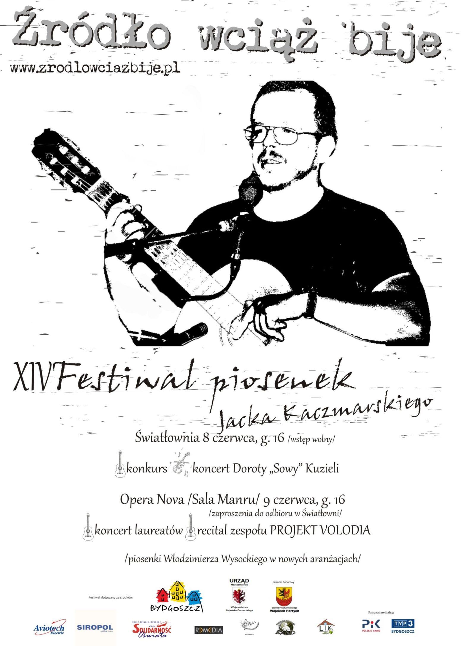 Plakat XIV Festiwalu piosenek Jacka Kaczmarskiego