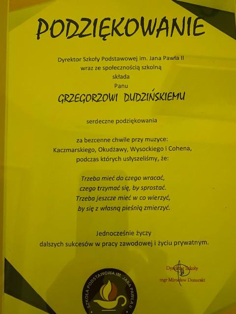 podziękowanie od dyrektora szkoły w Łochowie za przeprowadzoną Instrukcję obsługi niewidomego