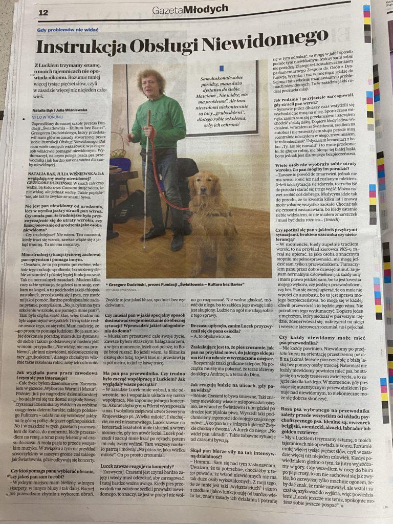 Artykuł z gazety Wyborczej z dnia 28 lutego 2020 o Instrukcji Obsługi Niewidomego