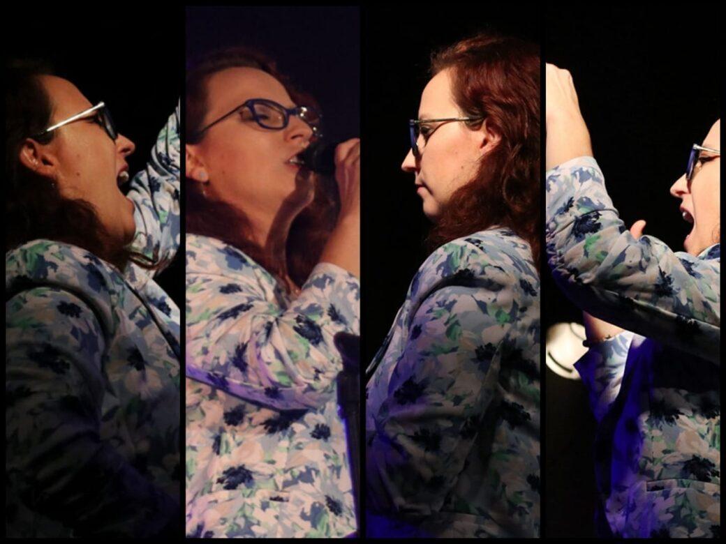 młoda wokalistka w okularach